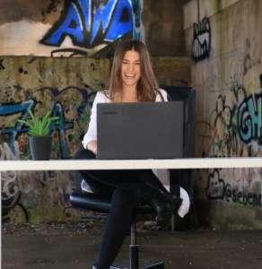 Woman having fun in online meeting