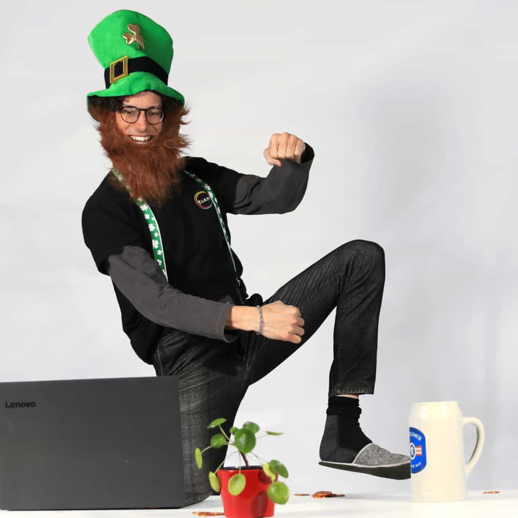 Man in St. Patrick's day costume attending online event
